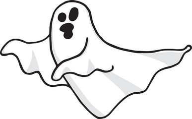 Ghost wandering and screaming on trasparent background