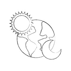 world planet earth with sun and moon vector illustration design