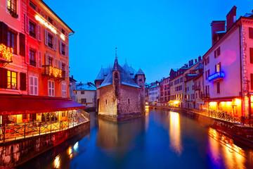Annecy An Einem Winterabend, Frankreich