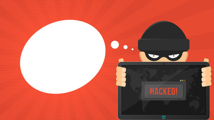 Cartoon hacker is holding a hacked tablet on a red background. System window warning and map of the earth. The system is hacked. Vector illustration