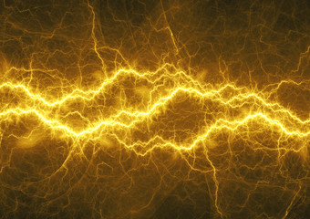 Golden lightning, electrical energy background
