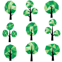 Vector geometric low poly tree Clip Art
