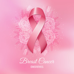 Breast cancer pink ribbon with flowers on pink background. Vector Illustration