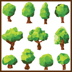 Low poly green trees Clip art.