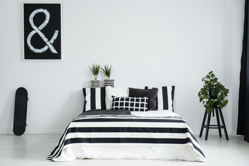 King-size bed between skateboard and plant