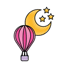 balloon air hot with moon vector illustration design