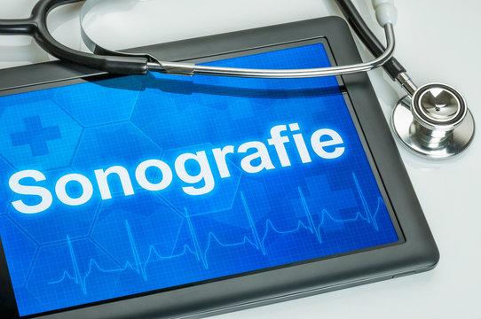 Tablet mit dem Text Sonografie auf dem Display