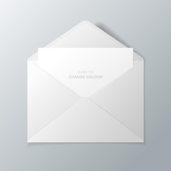 Open white envelope with invitation card. Vector realistic mockup isolated from the background. Easy to change colour.