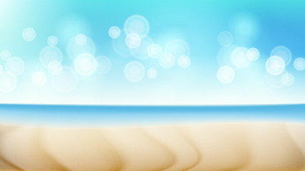 Beach Landscape Vector Summer Scene. Blur Tropical Sea. Beach Seaside Sea Shore Clouds. Beautiful Illustration