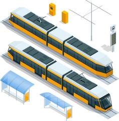 Set of isometric passenger Tram Train, Streetcar City Electric transport Streetcar Isolated on white Modern Urban Tramcar, Light rail train for branding identity and advertising design