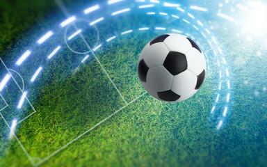 Soccer ball on green soccer stadium