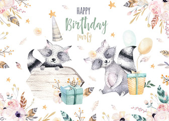 Cute baby raccon nursery animal isolated illustration for children. Bohemian watercolor boho forest raccons drawing, watercolour image. Perfect for nursery posters, patterns. Birthday invitation