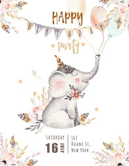 Cute baby elephant nursery animal isolated illustration for children. Bohemian watercolor boho forest elephant family drawing, watercolour image. Perfect for nursery posters, patterns. Birthday