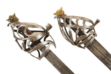 A pair of antique Venetian or Dalmatian broadsword hilts, isolated on white