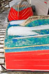 Small fishing boats ashore upon wooden pier-harbor's W.side. Hamnoy-Reine-Lofoten-Norway. 0241