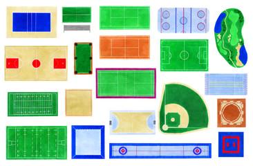 Sport fields watercolor set