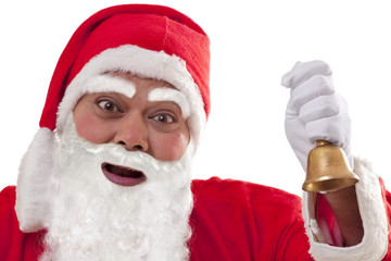 Close up of Santa Claus ringing bell over white background