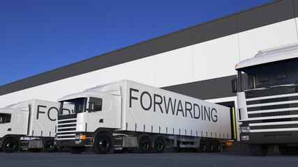 Freight semi truck with FORWARDING caption on the trailer loading or unloading. Road cargo transportation 3D rendering
