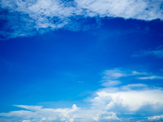 Blue bright sky with white clouds on sunny day. The vast blue sky and clouds sky.Beautiful background. Beautiful blue sky.