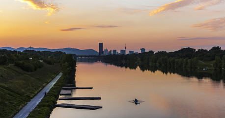 Dusk at the New Danube River with skyline of the Danube City
