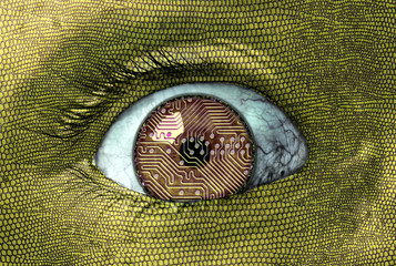 Alien reptilian eye closeup with circuit board eyeball design