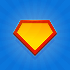 Blank Superhero Logo Icon on Blue Background. Vector