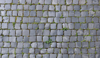 gray granite stones of the old city roadway