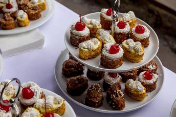 Sweet dessert. Plate with  cupcake