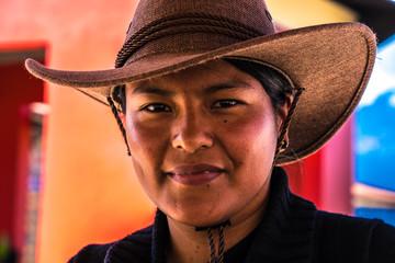 Pretty Peruvian girl with Cowboy Hat