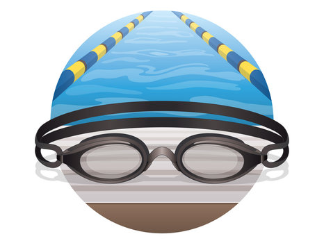 swim goggles black, at the pool in a circle