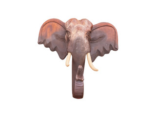 Wood carving, the head of the elephant, commonly used in ornamental building, isolated on white background with clipping path.