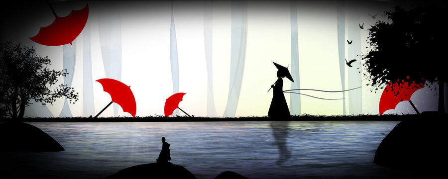 Japanese landscape with geisha and wagasa silhouette art