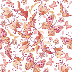 Cute pink floral seamless pattern with butterflies and hearts. Vector floral seamless pattern for greeting cards, invitations. Decorative ornament backdrop for fabric, textile, wrapping paper
