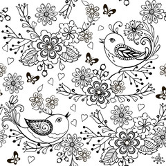Hand drawn flowers and birds for the anti stress coloring page. Floral seamless pattern with birds