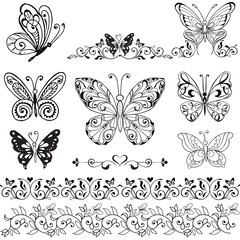 Collection of decorative butterflies monochrome. Floral borders with butterflies. Vintage Collection of butterflies isolated on white