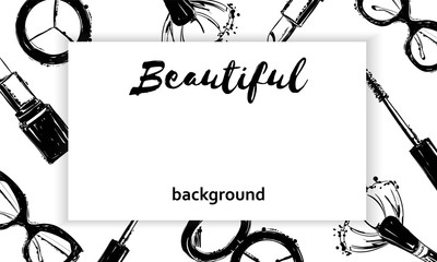 Beautiful background with cosmetics elements. Fashion hand drawn fashion background: glasses, makeup brush, lipstick, mascara. Cosmetics creative illustration with a place for your text.