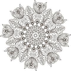 Floral Mandala coloring anti-stress. Mandala Paisley