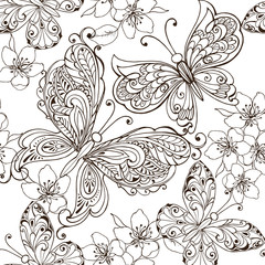 Hand drawn flowers and butterflies for the anti stress coloring page. Floral seamless ornament with butterflies monochrome