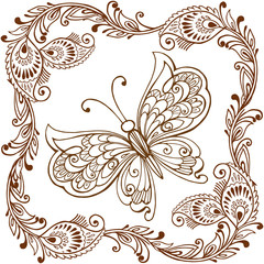 Decorative butterfly with Indian paisley ornament. Decorative butterfly for coloring anti-stress. Vector illustration