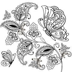 Hand drawn paisley pattern and butterflies for the anti stress coloring page