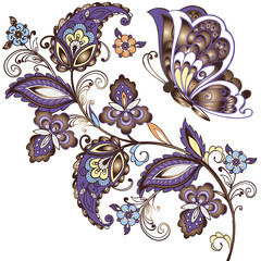 Elegant vector background with butterflies and Eastern ornament. Gold Floral ornament paisley