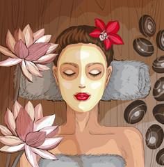 Woman getting spa treatment. Moisturizing mask