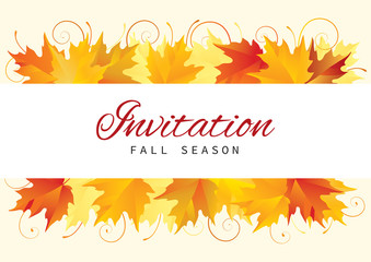 Fall Invitation Card Design with Leaves. Vector Template  background  with many red and yellow maple leaves at retro style