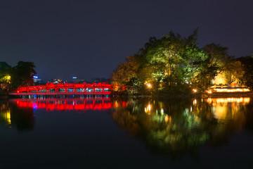 Red Bridge at Hoan Kiem Lake - Hanoi, Vietnam