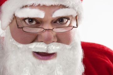 Close-up portrait of Santa Claus with glasses