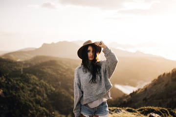 Woman standing in mountains