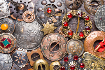 Lot of antique brooches, Latvian national decor