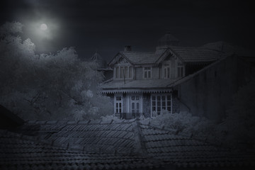 Old house in a full moon night