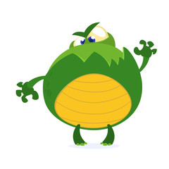 Green monster frog waving kids cartoon. Childish scary green animal amusing character. Vector illustration