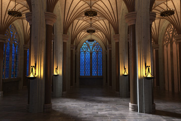 Stunning night view of a Gothic Cathedral Gallery lit with copper chandeliers. 3d render
